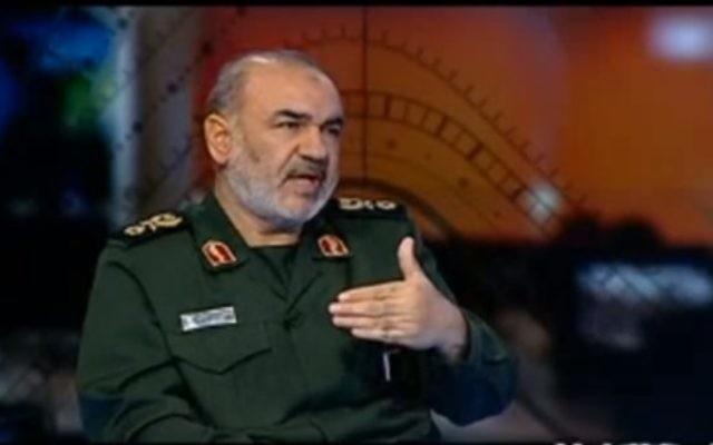 Hossein Salami, commandant du Corps des Gardiens de la  Révolution Islamique. (Crédit : capture d'écran YouTube)