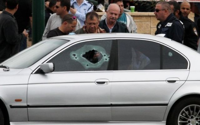Véhicule dans lequel la victime Taher Lalah a été tuée (Crédit : Roni Schutzer/Flash90)