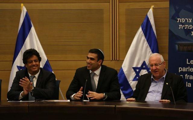 Meyer Habib, Yoni Chetboun, Reuvenn Rivlin (de gauche à droite) (Crédit : Flash 90)