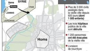 Carte de Homs, en Syrie, avec rappel de la situation sanitaire (Crédit : AFP J.Jacobsen)