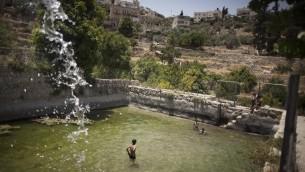Des enfants se baignent dans l'ancienne source du village de Battir, au sud de Jérusalem, le 17 juin 2012 (Crédit : AFP/Archives Menahem Kahana)