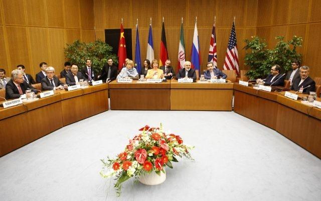 Les négociations de l'Iran avec les P5+1 à Vienne, 19 mars 2014. (Crédit : AFP/Dieter Nagl)