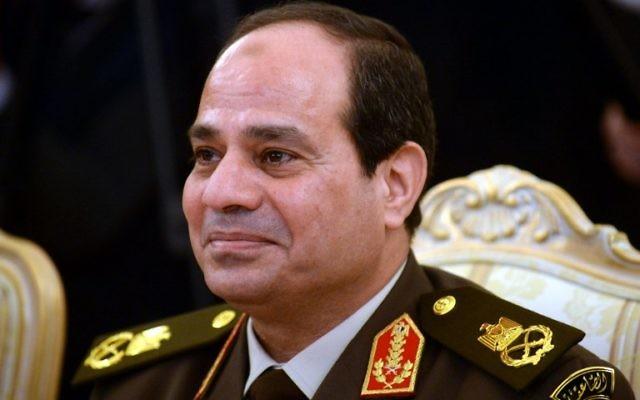Le chef de l'armée égyptienne, Abdel Fattah al-Sisi, lors d'une réunion avec le ministre russe de la Défense, 13 février 2014 (Crédit : AFP/Vasily Maximov)
