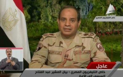 Abdul Fatah Al-Sissi, le 26 mars 2014 (Crédit : capture d'écran Al-MasriyaTV/AFP)