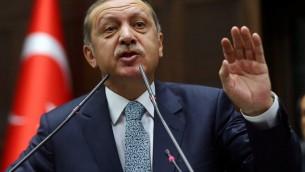 Le Premier ministre turc, Recep Tayyip Erdogan, 25 février 2014 (Crédit : Adem Altan/AFP Photo)