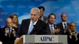 Benjamin Netanyahu, lors de son discours à l'AIPAC (Crédit : Nicholas Ramm/AFP)