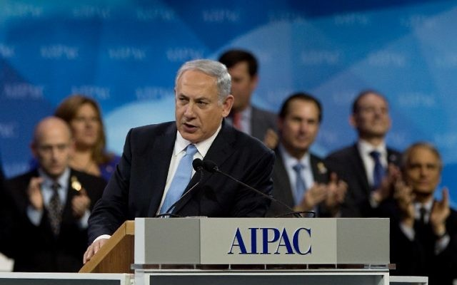 Benjamin Netanyahu, lors de son discours à l'AIPAC le 4 mars 2014  (Crédit photo: Nicholas Ramm/AFP)