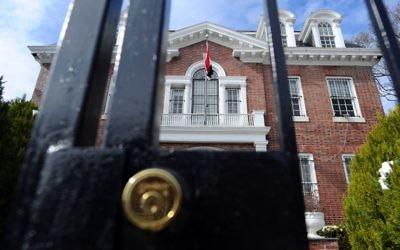 L'ambassade de Syrie à Washington est maintenant fermée, 18 mars 2014 (Crédit : AFP PHOTO/Jewel Samad)