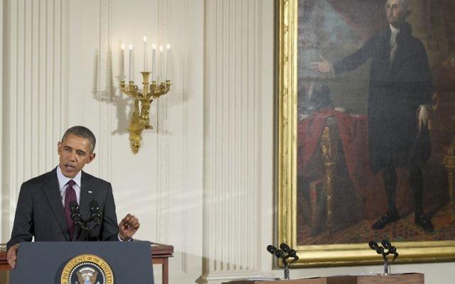 Le président américain Barack Obama prononce un discours à la Maison Blanche, le 18 mars 2014 (Crédit : AFP PHOTO/Saul LOEB)