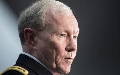 Le général Martin Dempsey, 28 mars 2014 (Crédit : Brendan Smialowski/AFP Photo)