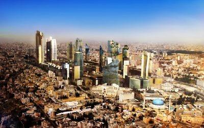 Lever de soleil sur Amman, en Jordanie (Crédit : Joeyzaza/CC BY/Wikimedia Commons)