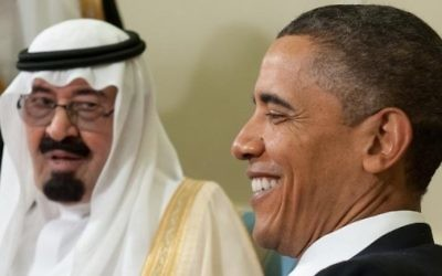 Barack Obama et le roi Abdallah d'Arabie saoudite à Washington - 29 juin 2010 (Crédit : Saul Loeb/AFP)