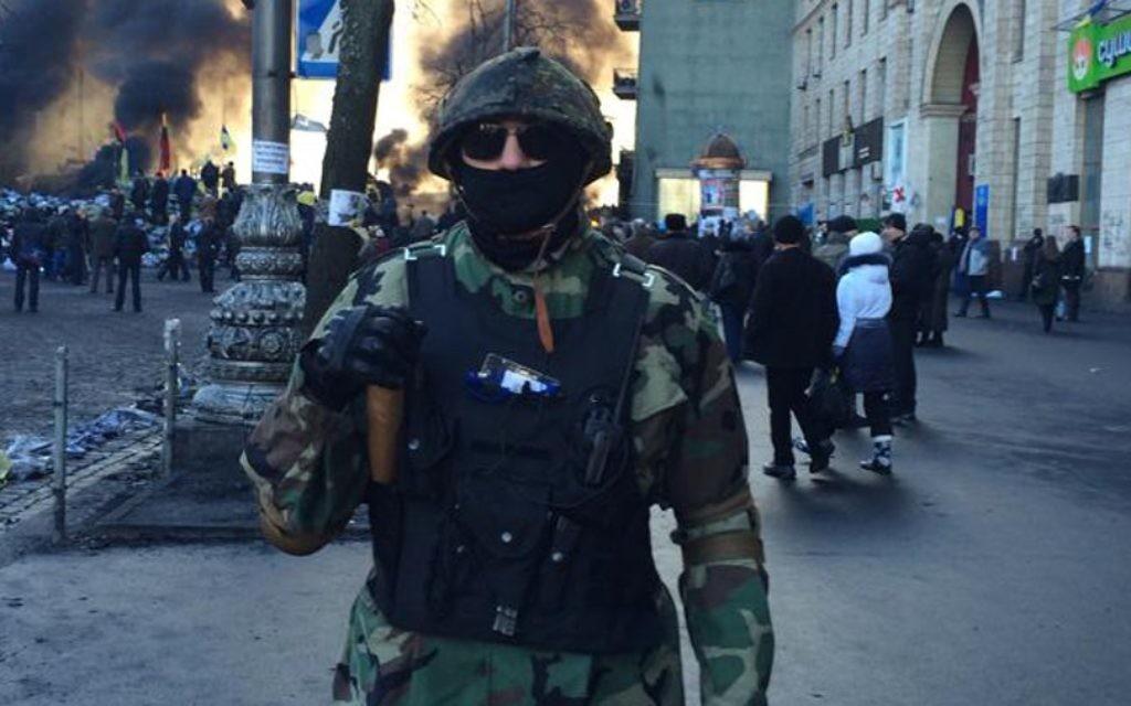 Delta, le nom de guerre du commandant d'une unité juive ukrainienne, est représenté à Kiev tôt ce mois-ci. (Crédit : «Delta»/JTA)