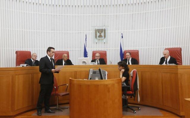 Un panel spécial à la Haute cour de Justice d'Israël (Crédit : Miriam Alster/Flash90)