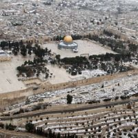 Vue sur le mont du Temple, le 12 décembre 2013 (Crédit : Flash90)