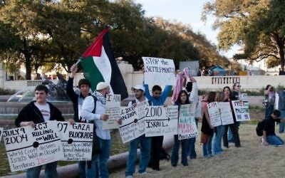 Illustration de manifestants pro-palestiniens lors de la semaine de l'Apartheid à l'université du Texas. (Crédit CC-BY Monad86, Flickr)