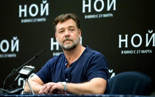 L'acteur néo-zélandais Russell Crowe à une conférence de presse à Moscou le 17 mars 2014 (Crédit : Yury Samolygo/AFP)