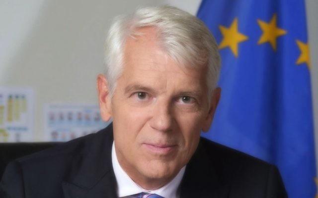 Lars Faaborg-Andersen, l'émissaire de l'Union européenne en Israël (Crédit : Yossi Zwecker)