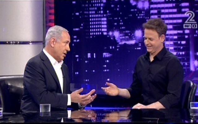 Le Premier ministre israélien Benjamin Netanyahu sur le plateau télé de L'état de la Nation (Crédit : capture d'écran Channel 2)