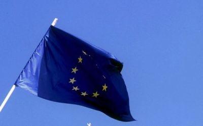 Le drapeau de l'Union européenne (Crédit : Serge Attal/Flash 90)