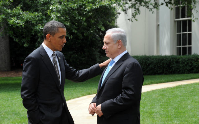 Le président américain Barack Obama et le Premier ministre Benjamin Netanyahu à la Maison Blanche, en 2012. (Crédit : Avi Ohayon/GPO/Flash90)