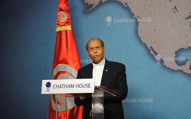Le président tunisien Moncef Marzouki à Chatham House (Crédit : Chatham House/Flickr/CC BY 2.0)
