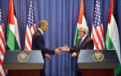 Mahmoud Abbas et Barack Obama en conférence de presse à Ramallah, en mars 2013. (Crédit : Issam Rimawi/Flash90)