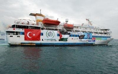 Le Mavi Marmara, navire turc participant à la flottille pour Gaza, visant à briser le blocus maritime imposé par Israël, en mai 2010. (Crédit : CC BY Free Gaza Mouvement/Flickr)
