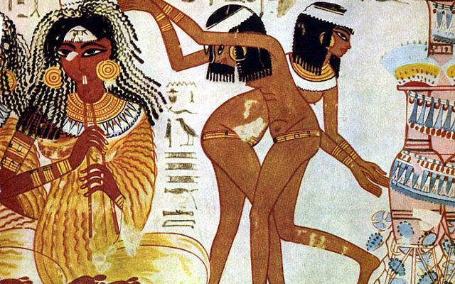 Des musiciens et danseuses sur une fresque dans la tombe de Nebamun (Crédit : The Yorck Project/domaine publique/Wikimedia Commons)