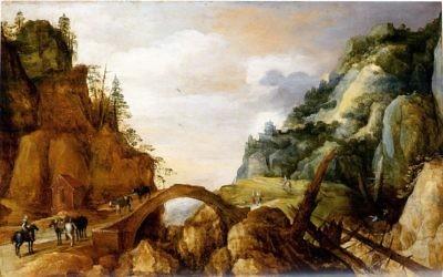 Paysage montagneux de Joos de Momper (Crédit : Wikimedia commons)
