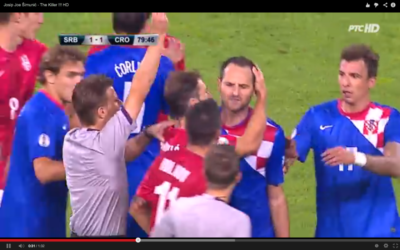 Le joueur de football croate, Josip Simonic, lors d'un match contre la Serbie (Crédit : capture d'écran youtube)