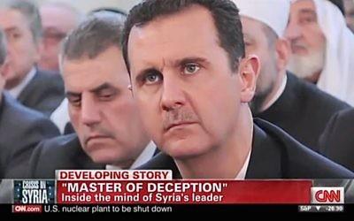 Bashar el-Assad (Crédit : capture d'écran Youtube/CNN)