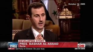 Bashar el-Assad lors d'une interview à la journaliste de CNN Christiane Amanpour, octobre 2005 (Crédit : capture d'écran Youtube/CNN)