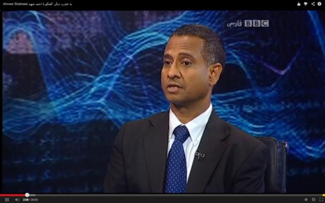 L'envoyé spécial pour les droits de l'Homme de l'ONU lors d'une interview avec la chaîne télévisée BBC (Perse), septembre 2013 (Crédit : Capture d'écran Youtube/BBCPersian)