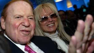 Sheldon Adelson et sa femme Miriam (Crédit : Olivier Fitoussi /Flash90)