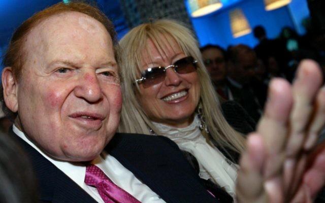 Sheldon Adelson et sa femme Miriam. (Crédit : Olivier Fitoussi/Flash90)