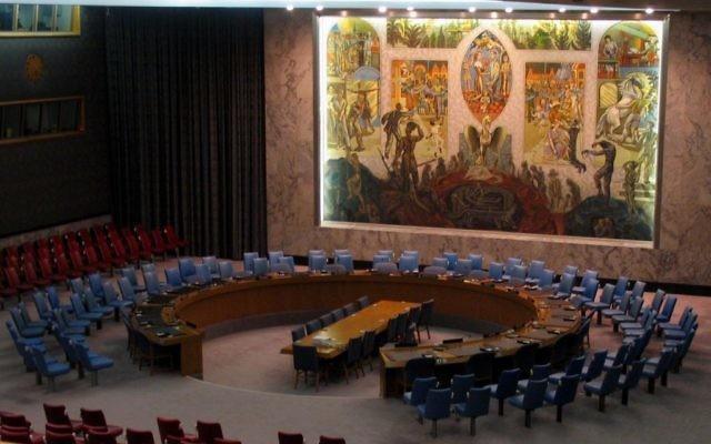 La Salle de réunion du Conseil de sécurité des Nations Unies à New York (Crédit : CC BY Bernd Untiedt/Wikimedia Commons)