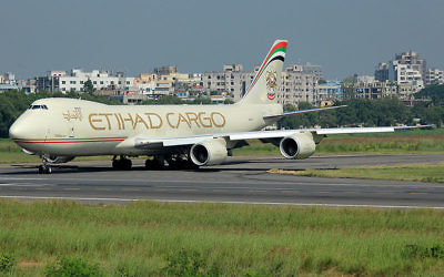 Un avion Boeing 748 de la compagnie Etihad Airways (Crédit : Raihan Ahmed/Wikimedia commons/CC BY-SA 3.0)