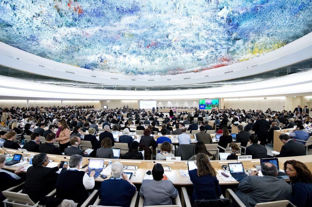 Une réunion du Conseil des droits de l'Homme à Genève, en mai 2013 (Crédit : Nations unies/Jean-Marc Ferré)