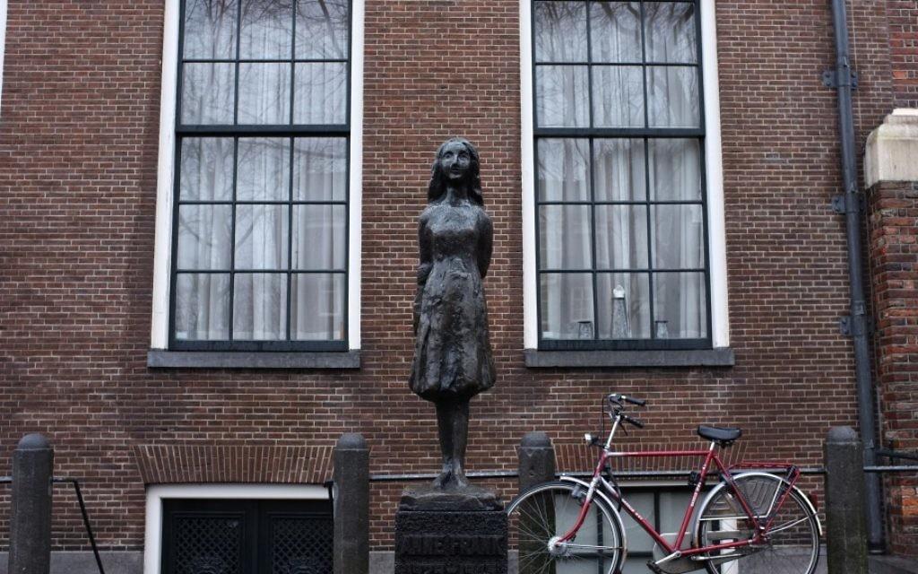 La maison où Anne Frank et sa famille se sont cachés à Amsterdam pendant la Shoah. (Crédit : Nati Shohat/Flash 90)
