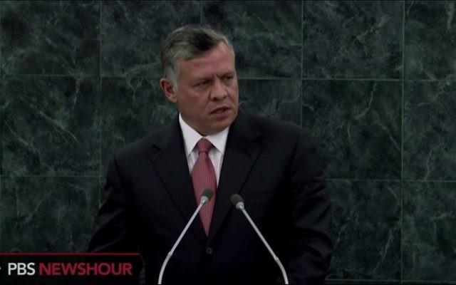 Le roi Abdallah II de Jordanie, septembre 2013 (Crédit : Capture d'écran Youtube/PBSNews)