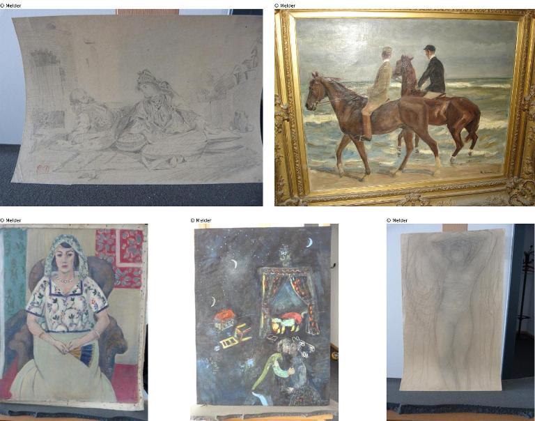 Des photos diffusées par le parquet d'Augsburg, en Allemagne, le 12 novembre 2013, montrant cinq des 1 400 tableaux volés par les nazis et saisis au domicile de Cornelius Gurlitt à Munich. (Crédit : Lostart.de/parquet d'Augsburg/AFP/File)