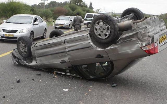Accident de voiture. Illustration. (Crédit : Edi Israel/Flash90)