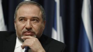 Le ministre des Affaires étrangères Avigdor Liberman (Crédit : Miriam Alster/Flash90)