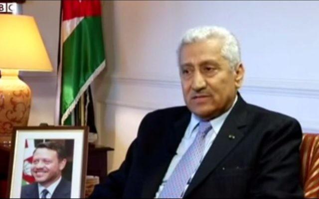 Le Premier ministre jordanien, Abdallah Nsour, septembre 2013 (Crédit : Capture d'écran Youtube/BBCWorldNews)