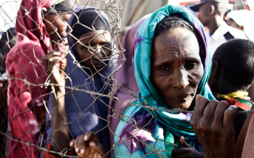 Des réfugiés font la file à l'hôpital de campagne de Kakuma, organisé par IsraAID, au Kenya (Crédit : autorisation d'IsraAID)