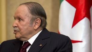 Le président algérien Abdelaziz Bouteflika, le 3 avril 2014 (Crédit : Jacquelyn Martin/AFP)