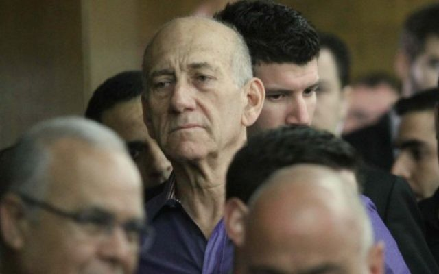 Ehud Olmert (Crédit : Ido Erez/POOL/Flash 90)