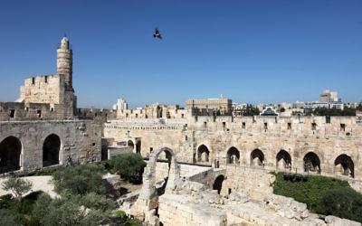La Tour de David dans la Vieille Ville de Jérusalem (Crédit : Kobi Gideon / Flash90)