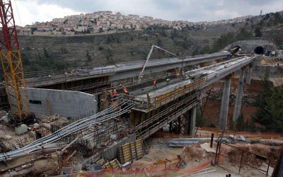 Photo illustrant des constructions de voie ferrée (Crédit Yossi Zamir/Flash90)
